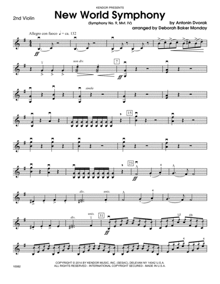 New World Symphony (Symphony No. 9, Mvt. IV) - Violin 2
