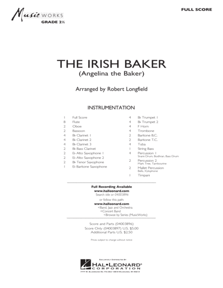 The Irish Baker - Full Score