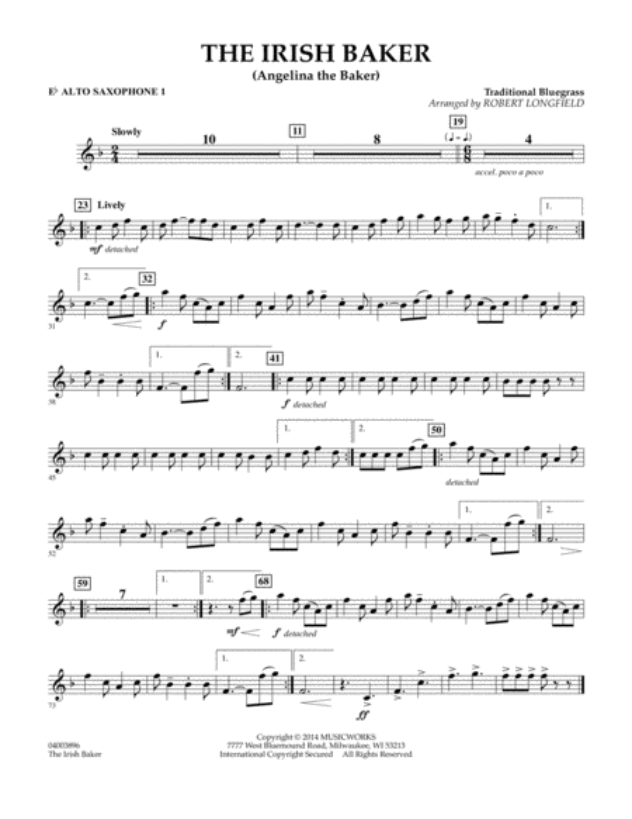 The Irish Baker - Eb Alto Saxophone 1