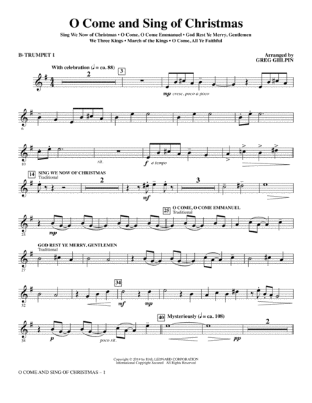O Come and Sing of Christmas - Bb Trumpet 1