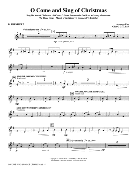 O Come and Sing of Christmas - Bb Trumpet 2