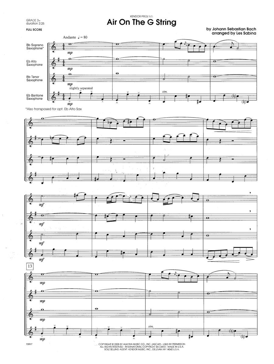 Air On The G String - Conductor Score (Full Score)