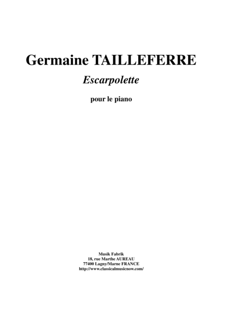Germaine Tailleferre - Escarpolette for piano