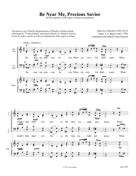 Be Near Me, Precious Savior (SATB)
