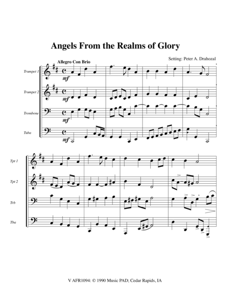 Angels From the Realms of Glory - Mixed Brass Quartet (2 Tpt, Trb, Tuba)