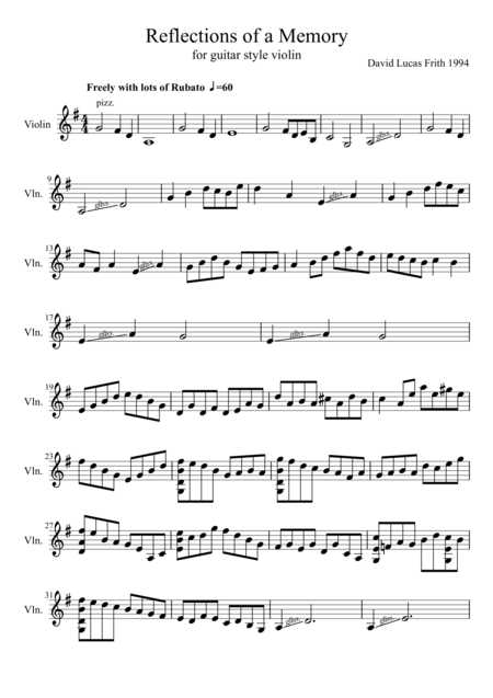 Reflections of a Memory for guitar style violin