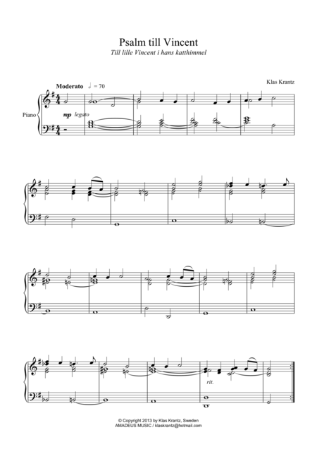 Psalm for Vincent (Hymn for Vincent) for piano solo