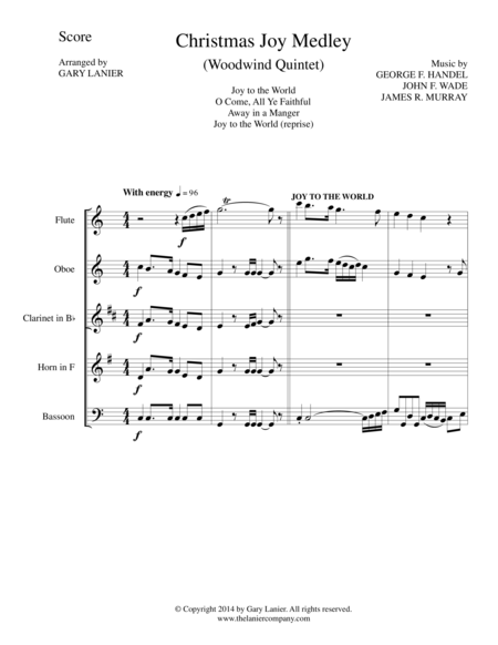 CHRISTMAS JOY MEDLEY (Woodwind Quintet Score and Parts for Flt, Ob, Cl, Hrn, and Bsn)