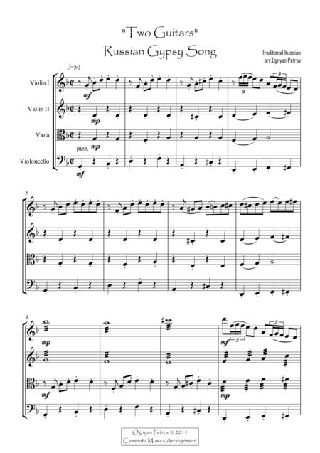 Russian Folk Music Sheet