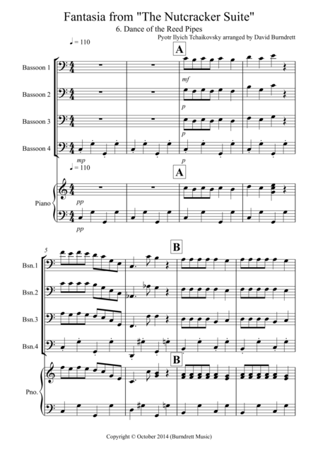 Dance of the Reed Pipes (fantasia from the Nutcracker) for Bassoon Quartet