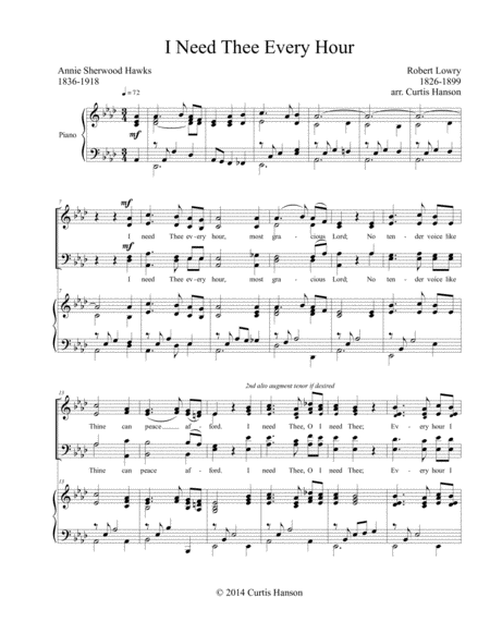 I Need Thee Every Hour (SATB)