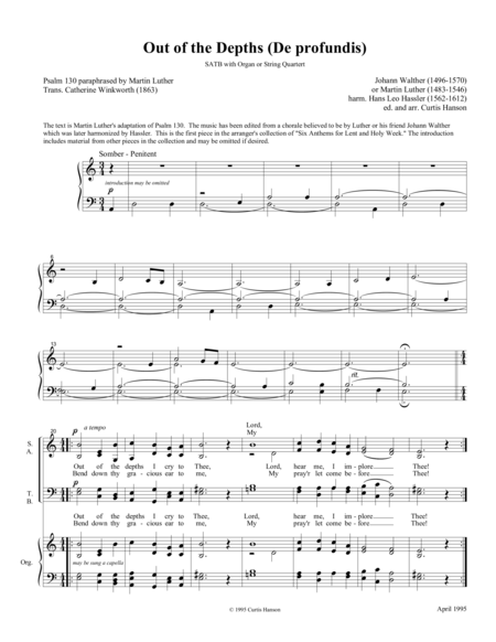 Out of the Depths (SATB)