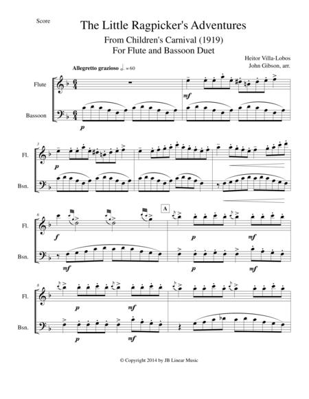Villa-Lobos - The Little Ragpicker's Adventures set for flute and bassoon duet