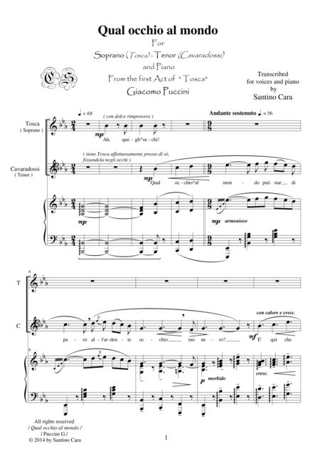 Puccini - Tosca (Act1) Qual occhio al mondo (Soprano, Tenor and piano)