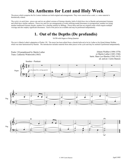 Six Anthems for Lent and Holy Week (SATB divisi)