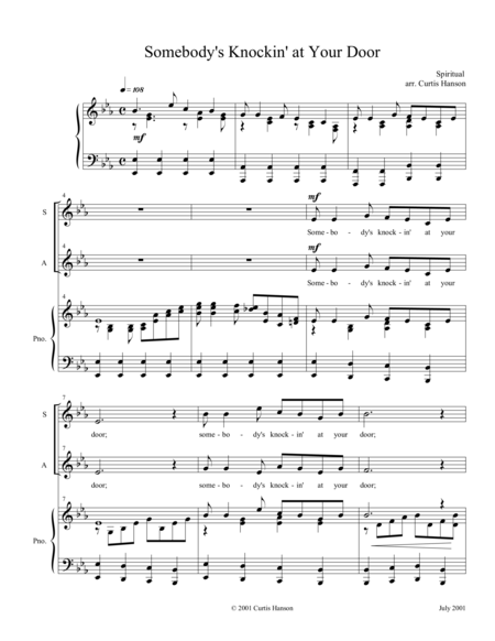 Somebody's Knockin' at Your Door (SATB)