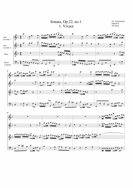 Sonata for 2 alto recorders, oboe and basso continuo, Opus 22, no.1, F major