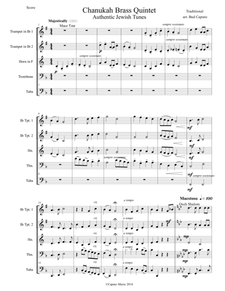 Chanukah Medley for Brass Quintet-Score and Parts