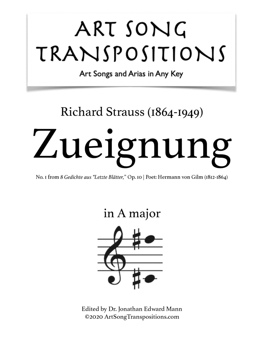 Zueignung, Op. 10 no. 1 (A major)