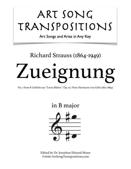 Zueignung, Op. 10 no. 1 (B major)