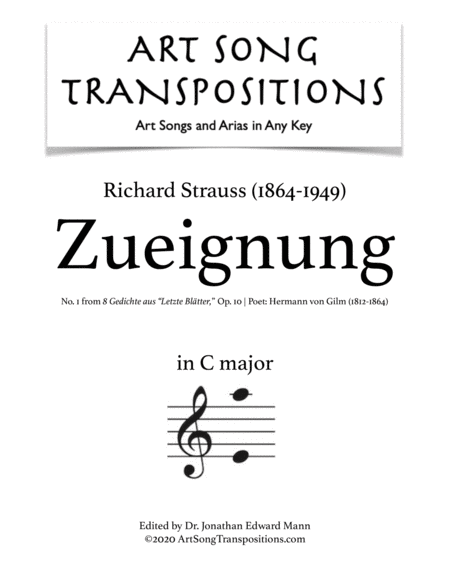 Zueignung, Op. 10 no. 1 (C major)