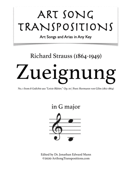 Zueignung, Op. 10 no. 1 (G major)