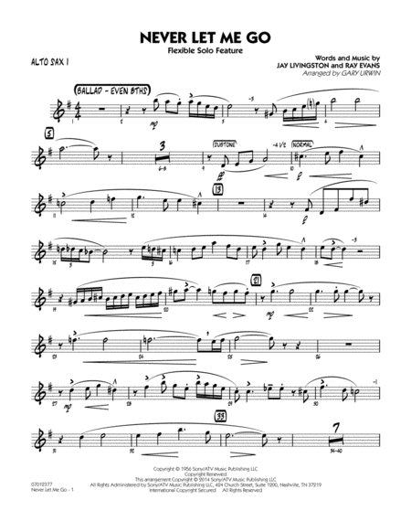 Never Let Me Go (Flexible Solo Feature) - Alto Sax 1