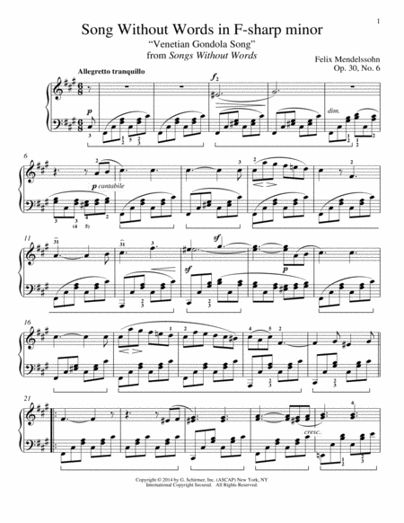 Song Without Words In F-Sharp Minor