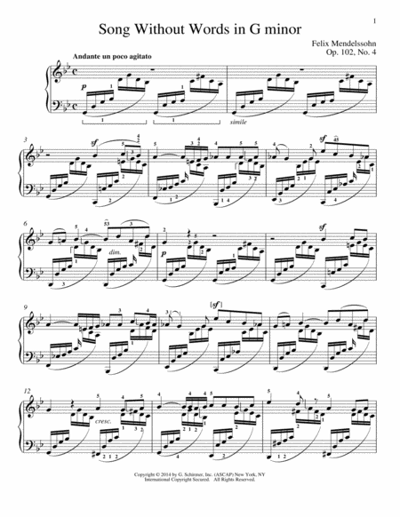 Song Without Words In G Minor, Op. 102, No. 4