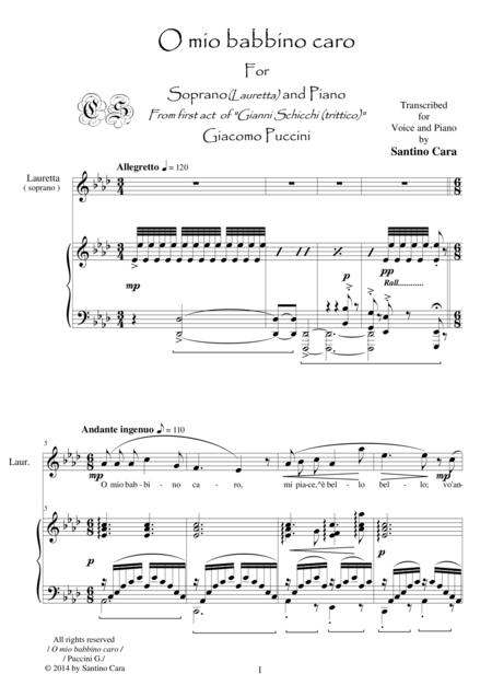 Puccini-Gianni Schicchi (Act1) O mio babbino caro - Soprano and piano