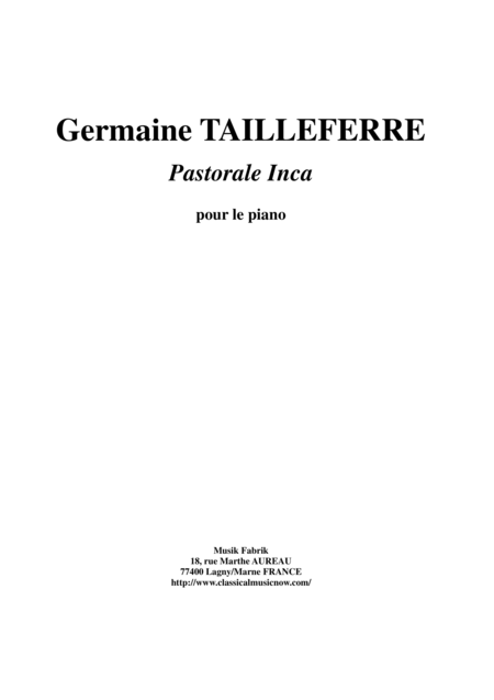 Germaine Tailleferre - Pastorale Inca for piano