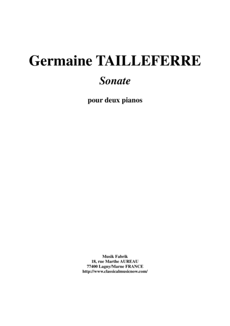 Germaine Tailleferre Sonata for two pianos