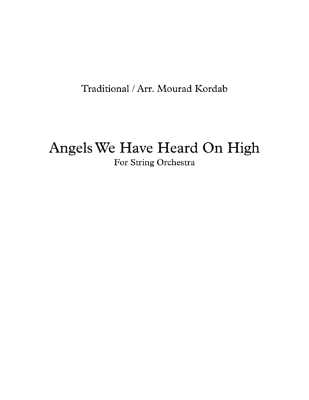 Angels We Have Heard On High (String Orchestra)