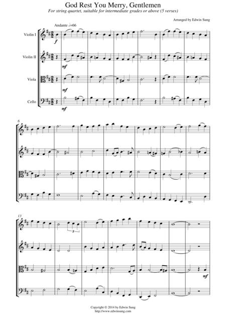 God Rest You Merry, Gentlemen (for string quartet, suitable for intermediate grades or above)