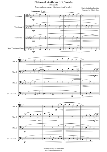 National Anthem of Canada (for trombone quartet, suitable for all grades)