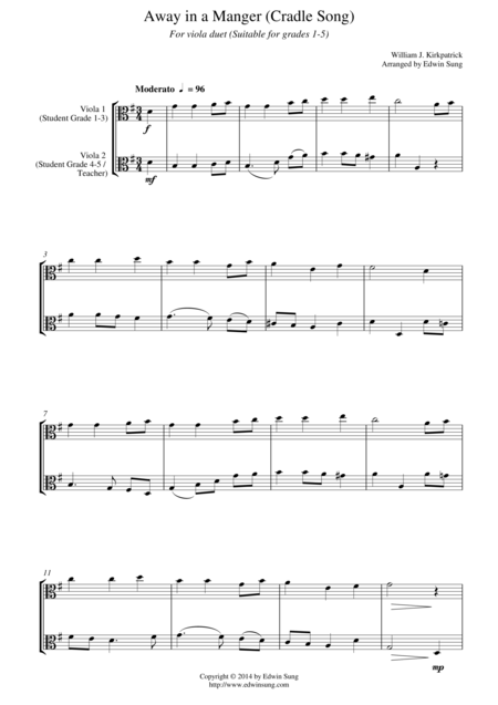 Away in a Manger (Cradle Song) (for viola duet, suitable for grades 1-5)