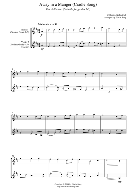 Away in a Manger (Cradle Song) (for violin duet, suitable for grades 1-5)
