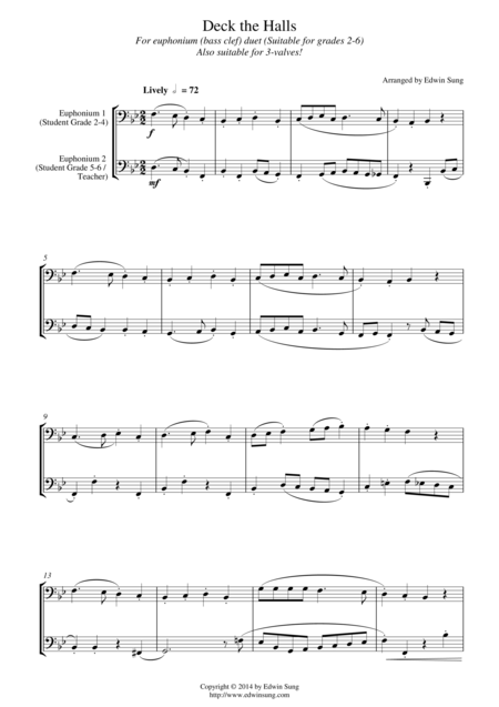 Deck the Halls (for euphonium duet(bass clef, 3 or 4 valved), suitable for grades 2-6)