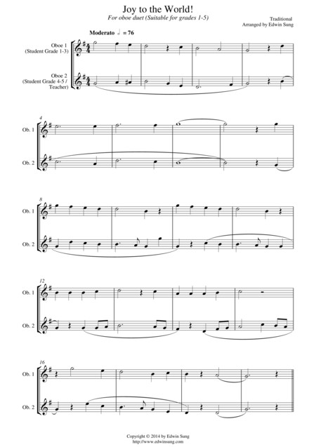 Joy to the World (for oboe duet, suitable for grades 1-5)
