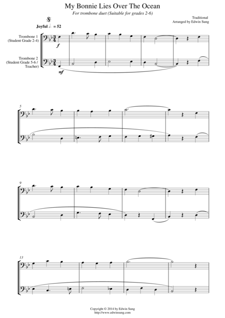 My Bonnie Lies Over The Ocean (for trombone duet, suitable for grades 2-6)