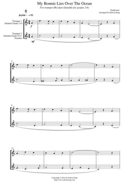 My Bonnie Lies Over The Ocean (for trumpet (Bb) duet, suitable for grades 2-6)