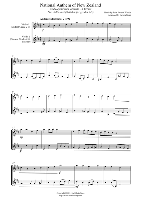 National Anthem of New Zealand (for violin duet, suitable for grades 2-5)