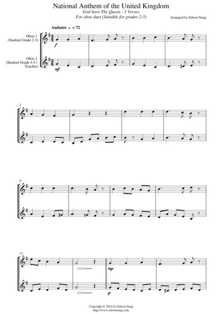 National Anthem of the United Kingdom (for oboe duet, suitable for grades 2-5)