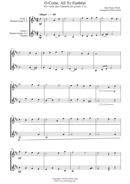 O Come, All Ye Faithful (for violin duet, suitable for grades 1-5)