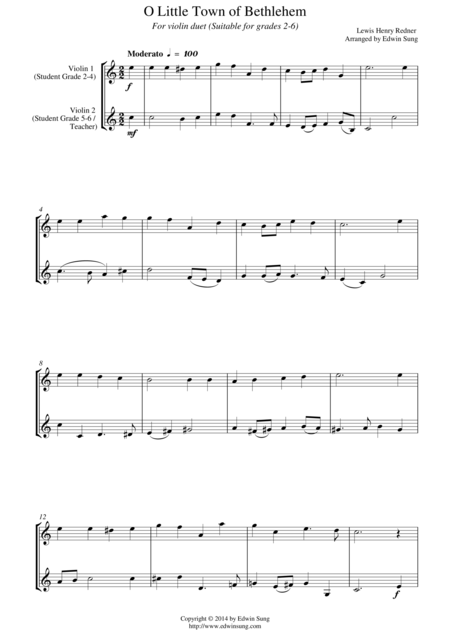 O Little Town of Bethlehem (for violin duet, suitable for grades 2-6)