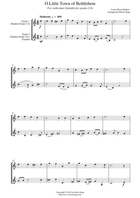 O Little Town of Bethlehem (for violin duet, suitable for grades 2-6)