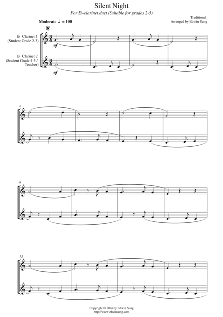 Silent Night (for Eb-clarinet duet, suitable for grades 2-5)