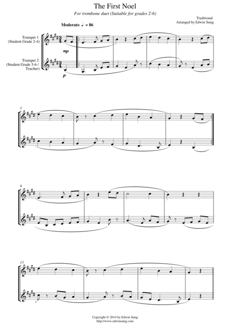 The First Noel (for trumpet (Bb) duet, suitable for grades 2-6)