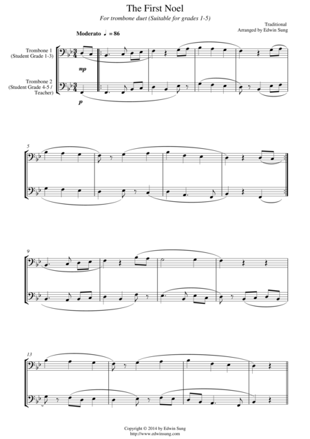 The First Noel (for trombone duet, suitable for grades 1-5)