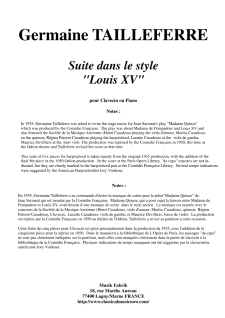 Germaine Tailleferre - Suite dans le Style Louis XV for harspichord or piano